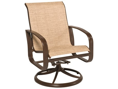 Woodard Cayman Isle Sling Aluminum Swivel Rocker Dining Arm Chair