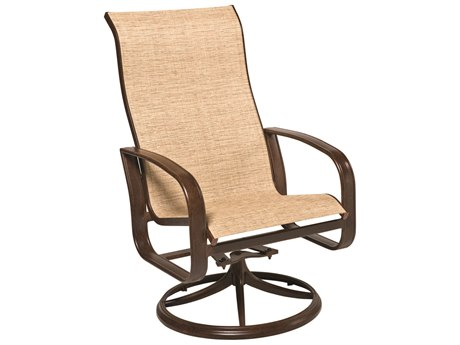 Woodard Cayman Isle Sling Aluminum High Back Swivel Rocker Dining Arm Chair