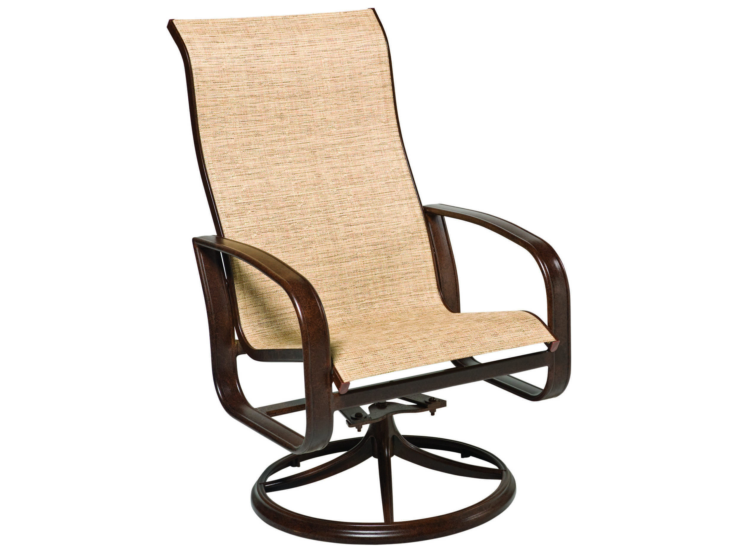 Woodard Cayman Isle Sling Aluminum High Back Swivel Rocker Dining Arm Chair Wr2fx488