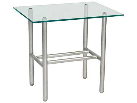 Woodard Uptown Wrought Iron 24 x 18.13 Rectangular Glass Top End Table