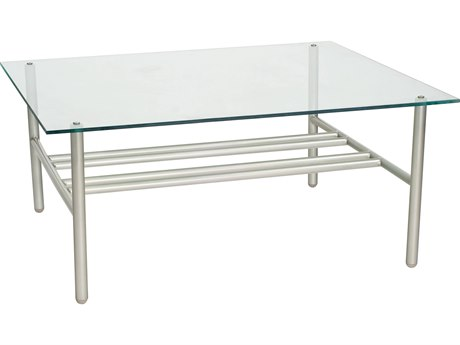 Woodard Uptown Wrought Iron 42 x 36 Rectangular Glass Top Coffee Table