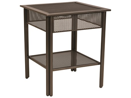 Woodard Jax Wrought Iron 21''Wide Square Micro-Mesh Top End Table