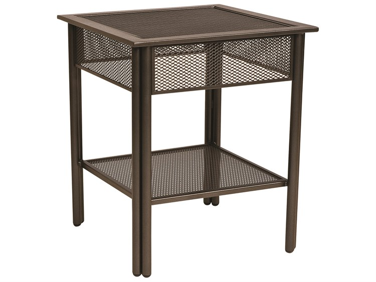 Woodard Jax Wrought Iron 20.8 Square Micro-Mesh Top End Table