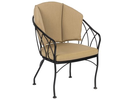 Woodard Delaney Wrought Iron Dining Arm Chair with Back Cushion