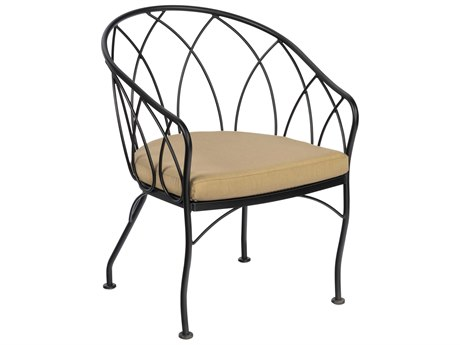 Woodard Delaney Wrought Iron Dining Chair with Optional Back Cushion