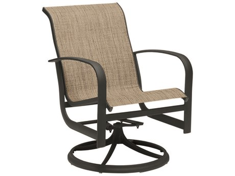 Woodard Fremont Sling Aluminum Swivel Rocker Dining Arm Chair