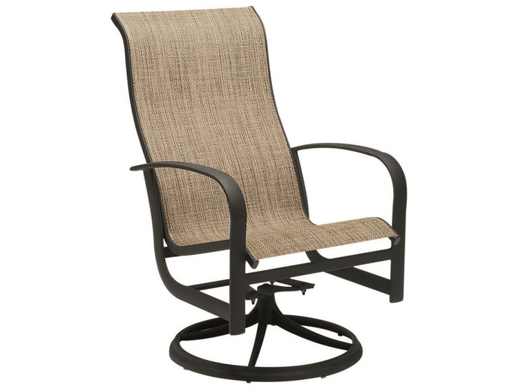 Woodard Fremont Sling Aluminum High Back Swivel Rocker Dining Arm Chair PatioLiving