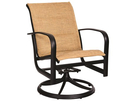 Woodard Fremont Padded Sling Aluminum Swivel Rocker Lounge Chair