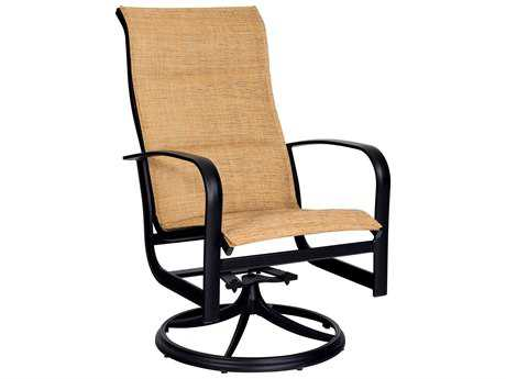 Woodard Fremont Padded Sling Aluminum High Back Swivel Rocker
