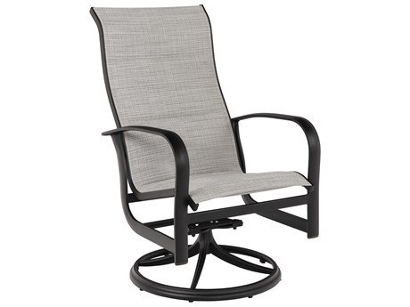 Woodard Fremont Padded Sling Aluminum High Back Swivel Rocker Lounge Chair