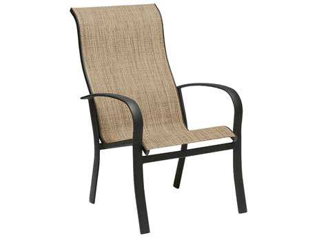 Woodard Fremont Sling Aluminum High Back Stackable Dining Arm Chair