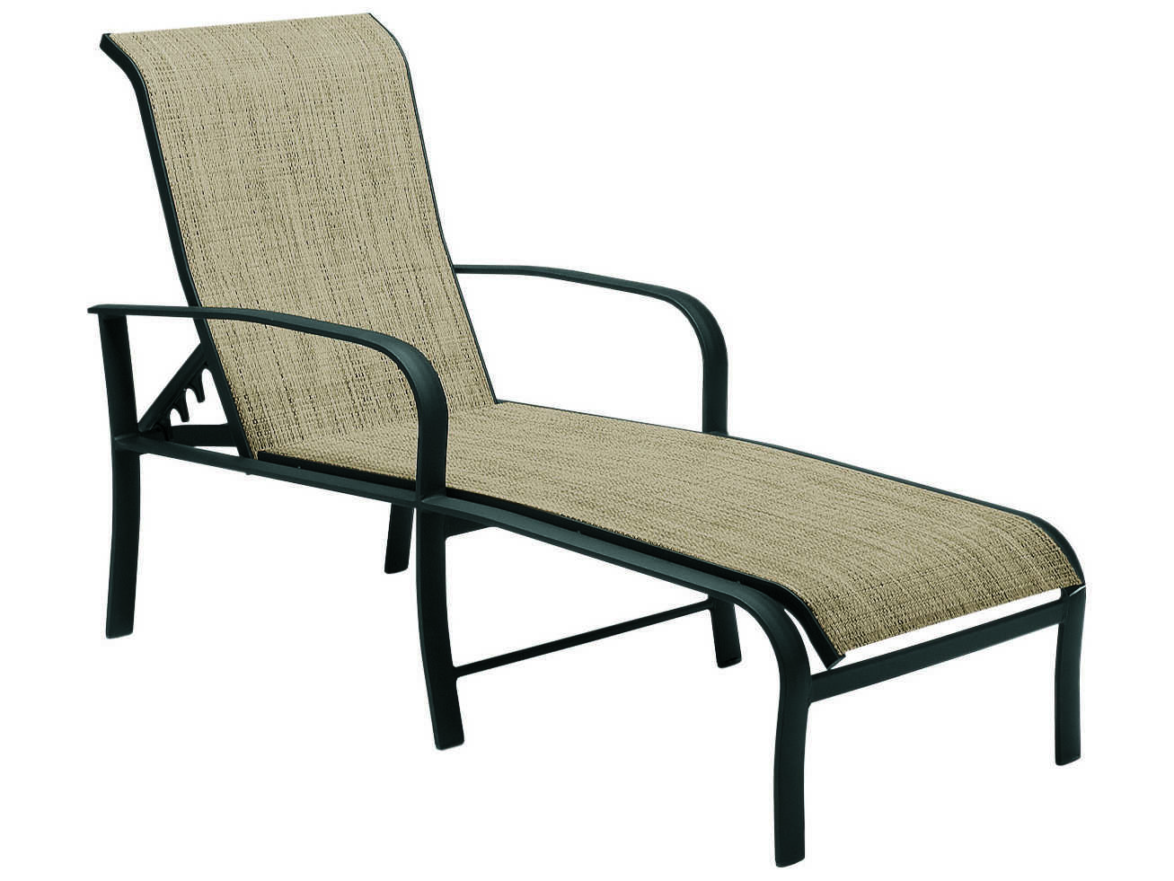 Woodard fremont sling aluminum adjustable chaise lounge for Aluminum outdoor chaise lounge