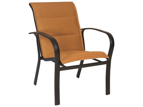 Woodard Fremont Padded Sling Aluminum Stackable Dining Arm Chair
