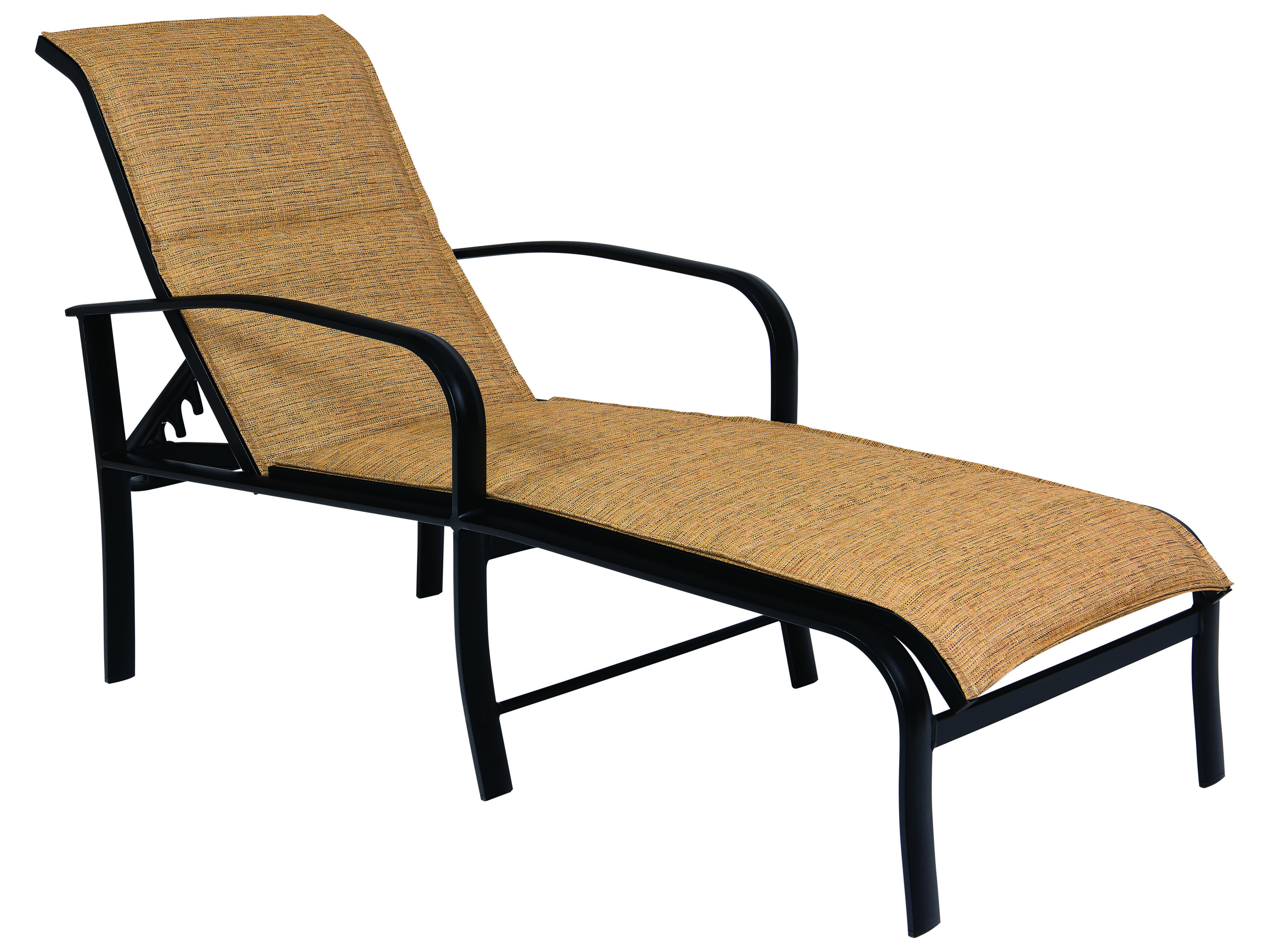 Woodard fremont padded sling aluminum adjustable chaise for Aluminium chaise lounge
