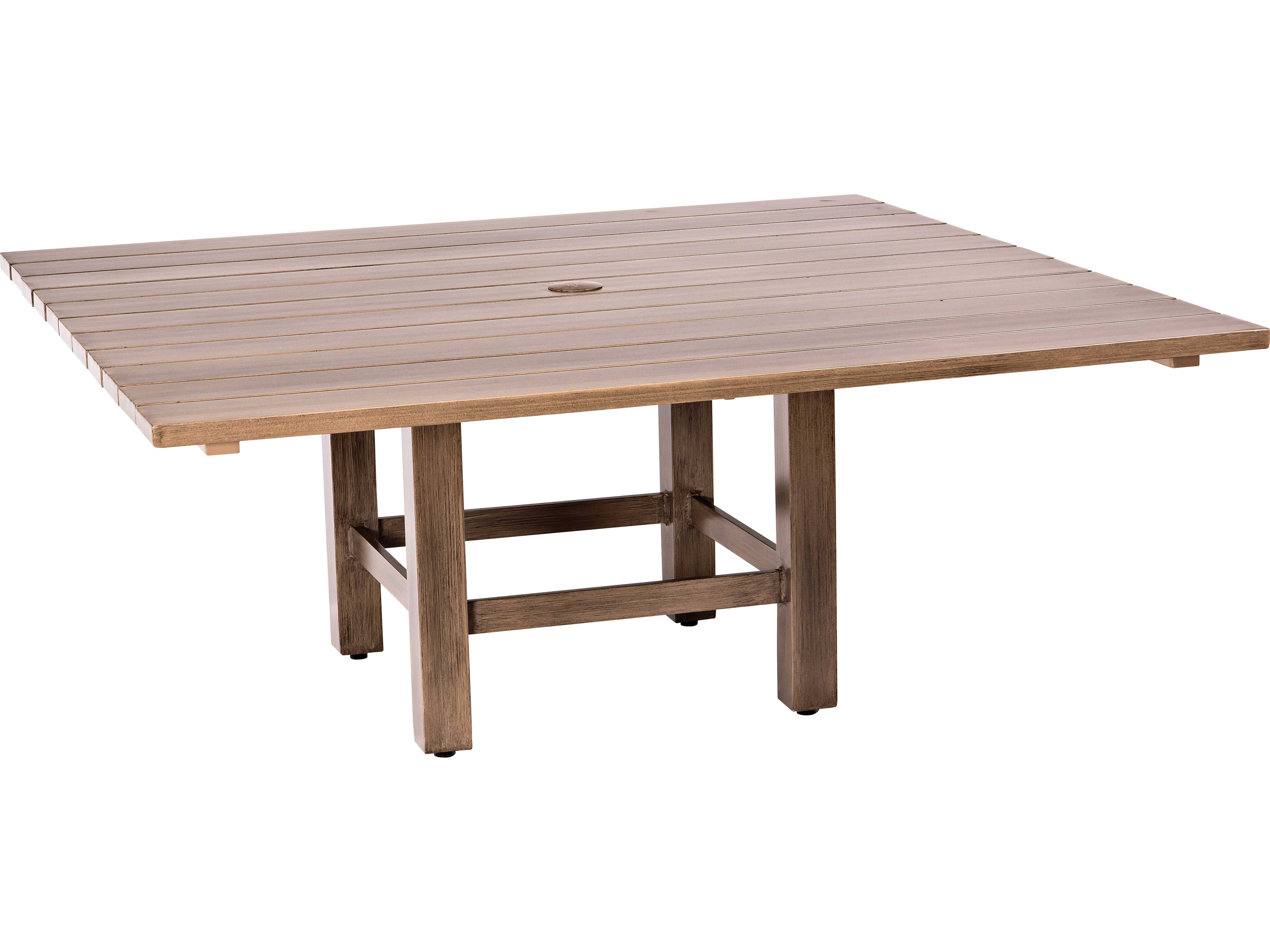 Woodard woodlands aluminum 52 square dining table with - Picnic table with umbrella hole ...