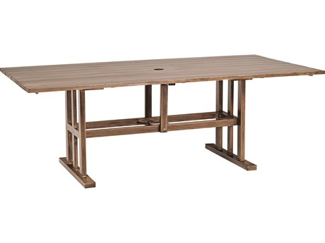 Woodard Woodlands Aluminum 84 x 42.5 Rectangular Dining Table with Umbrella Hole