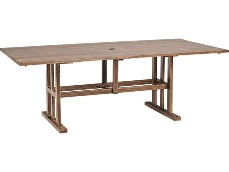 Woodard Woodlands Aluminum 84''W x 42''D Rectangular Dining Table with Umbrella Hole PatioLiving