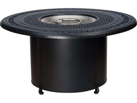 Woodard Universal Iron Chat Height Round Fire Table Base with Square Burner
