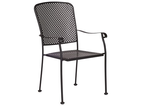 Woodard Fullerton Wrought Iron Dining Arm Chair with Cushion