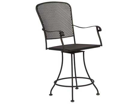 Woodard Fullerton Wrought Iron Swivel Counter Stool
