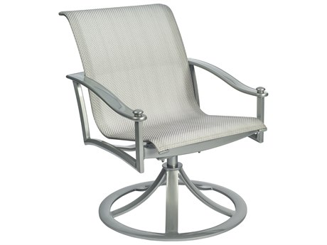 Woodard Nob Hill Sling Aluminum Swivel Rocking Dining Arm Chair