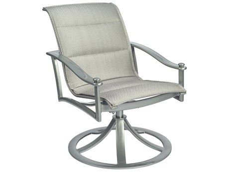Woodard Nob Hill Padded Sling Aluminum Swivel Rocking Dining Chair