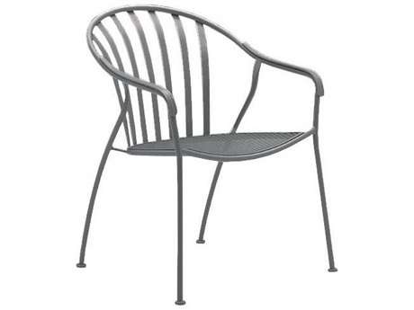 Woodard Valencia Wrought Iron Stackable Barrel Dining Arm Chair