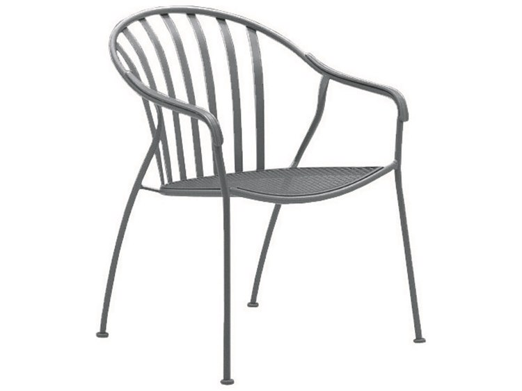 Woodard Valencia Wrought Iron Stackable Barrel Dining Arm Chair PatioLiving