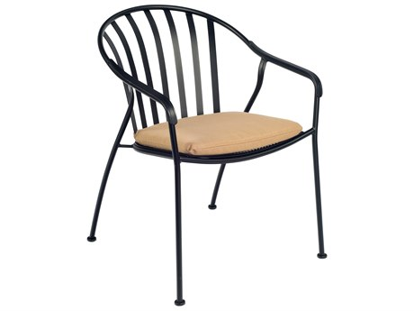 Woodard Valencia Wrought Iron Barrel Dining Chair with Cushion