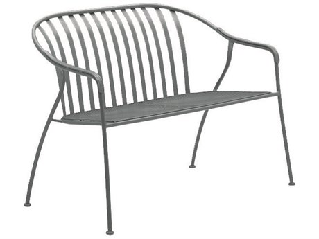 Woodard Valencia Wrought Iron Barrel Love Seat w/ Seat Cushion