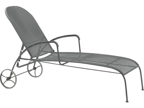 Woodard Valencia Wrought Iron Adjustable Chaise Lounge with Cushion