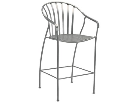 Woodard Valencia Wrought Iron Stationary Bar Stool w/ Seat Cushion