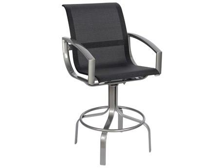Woodard Metropolis Sling Aluminum Swivel Bar Stool