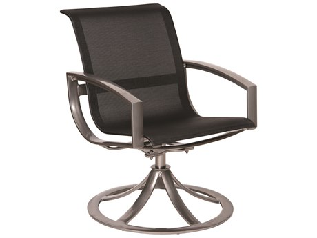 Woodard Metropolis Aluminum Sling Swivel Dining Arm Chair