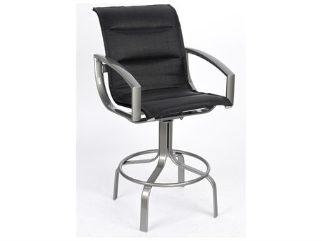 Woodard Metropolis Padded Sling Aluminum Swivel Bar Stool