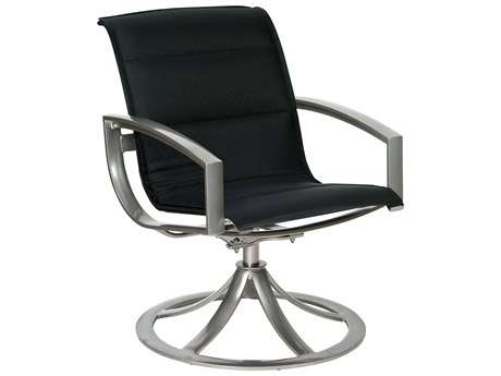 Woodard Metropolis Padded Sling Aluminum Swivel Dining Arm Chair