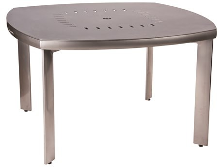 Woodard Metropolis Aluminum 48.25 Square Round Table with Umbrella Hole