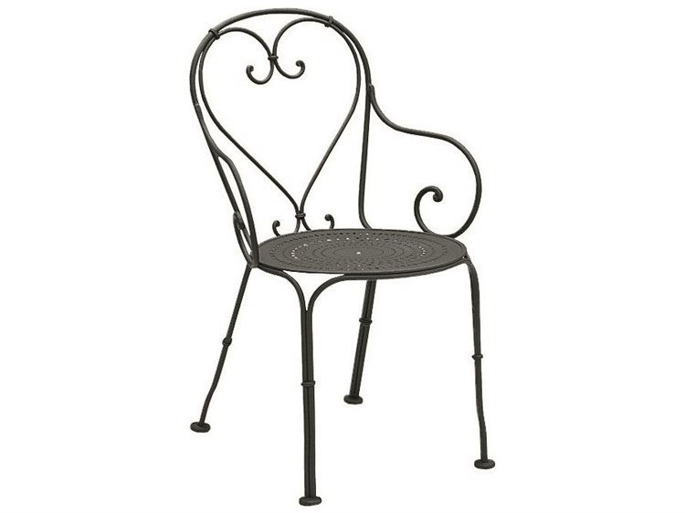 Woodard Parisienne Wrought Iron Pattern Seat Dining Arm Chair PatioLiving