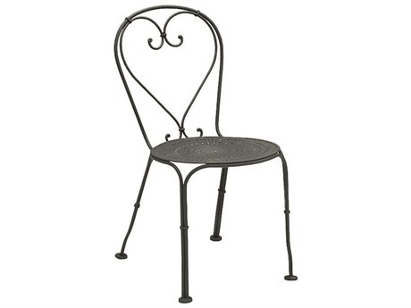 Woodard Parisienne Wrought Iron Pattern Seat Dining Side Chair