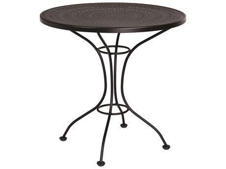 Woodard Parisienne Wrought Iron 30''Wide Round Pattern Top Bistro Table