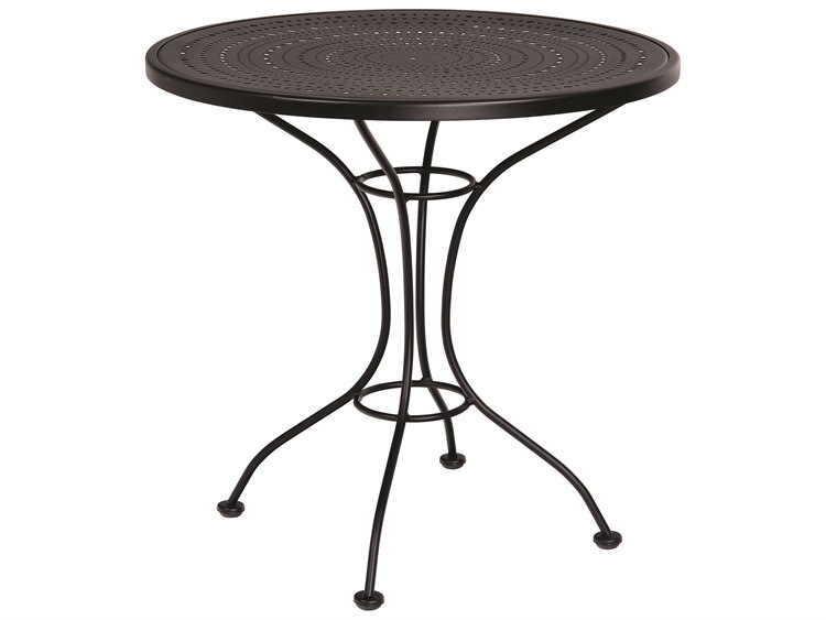 Woodard Parisienne Wrought Iron 30''Wide Round Pattern Top Bistro Table PatioLiving