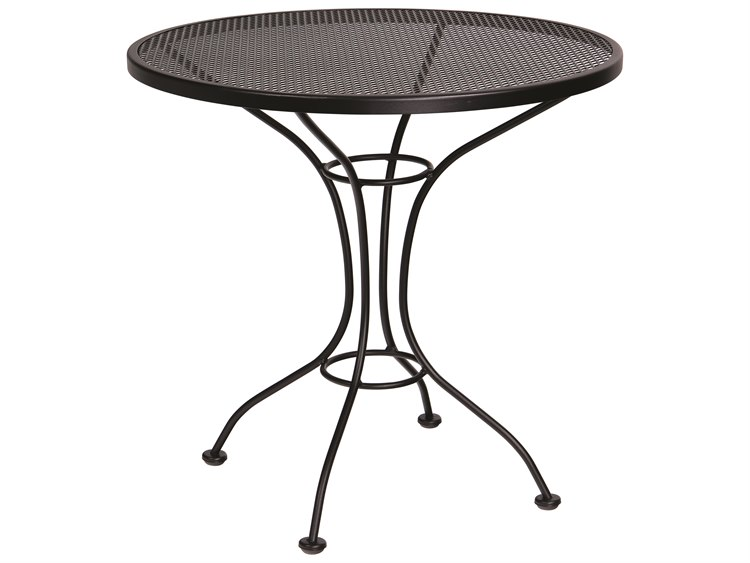 Woodard Parisienne Wrought Iron 30''Wide Round Mesh Top Bistro Table PatioLiving