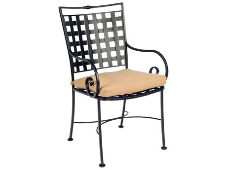 Woodard Sheffield Wrought Iron Dining Arm Chair with Cushion