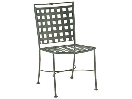Woodard Sheffield Wrought Iron Dining Side Chair with Cushion