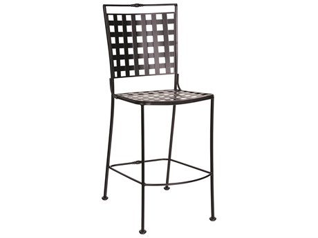 Woodard Sheffield Wrought Iron Stationary Armless Bar Stool w/ Seat Cushion