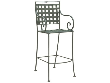 Woodard Sheffield Wrought Iron Stationary Bar Stool w/ Seat Cushion