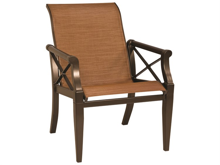 Woodard Andover Sling Aluminum Dining Arm Chair PatioLiving