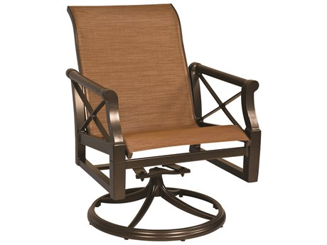 Woodard Andover Sling Aluminum Swivel Rocker Dining Arm Chair