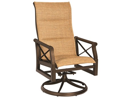 Woodard Andover Padded Sling High Back Swivel Rocker Dining Chair