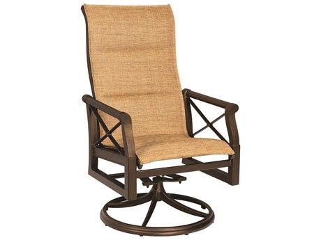 Woodard Andover Padded Sling  Aluminum High Back Swivel Rocker Dining Arm Chair